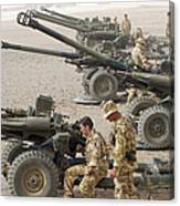 Howitzer 105mm Light Guns Are Lined Canvas Print