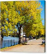 Hudson Riverside Autumn Scenery In Troy  New York Canvas Print