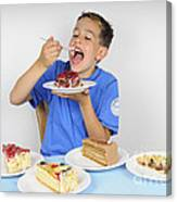 Hungry Boy Eating Lot Of Cake Canvas Print
