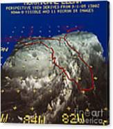 Hurricane Elena In 3-d Canvas Print