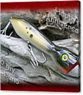 Husband Anniversary Card - Saltwater Fishing Lure - Popper Canvas Print