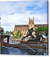 Hyde Park Fountain And St. Mary's Cathedral Canvas Print