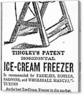 Ice Cream Freezer, 1872 Canvas Print