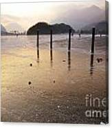 Ice On A Lake In Sunset Canvas Print