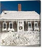 Icicles Hang From The Roof Of This Home In Barnstable On Cape Co Canvas Print