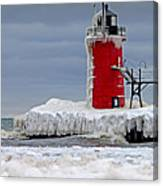 Icy South Haven Mi Lighthouse Canvas Print