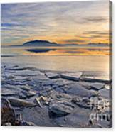 Icy Sunset On Utah Lake Canvas Print