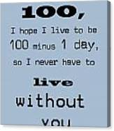 If You Live To Be 100 - Blue Canvas Print
