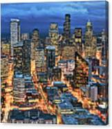 Illuminated Of Downtown Seattle Canvas Print