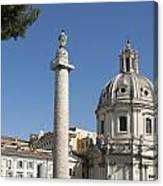 Imperial Fora With The Trajan's Column And The Church Santissimo Nome Di Maria.  Rome Canvas Print