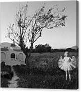 In My Dreams I Am A Little Girl Bw Canvas Print