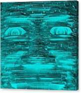 In Your Face In Neagtive Turquois Canvas Print