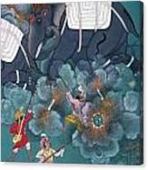 India: Elephant Fight Canvas Print