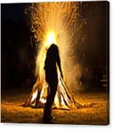Indian Ceremonial Bonfire Canvas Print