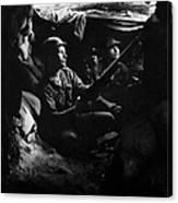 Infantrymen Take Advantage Of Cover Canvas Print