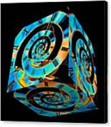 Infinity Time Cube On Black Canvas Print