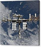 International Space Station Backgropped Canvas Print