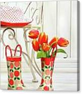 Iron Chair With Little Rain Boots And Tulips  Canvas Print