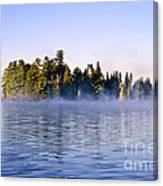 Island In Lake With Morning Fog Canvas Print