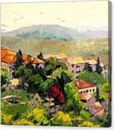 Italian Hillside Village Oil Painting Canvas Print