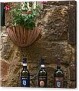 Italian Wine And Flowers Canvas Print