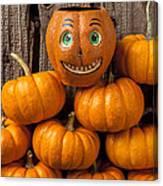 Jack-o-lantern On Stack Of Pumpkins Canvas Print