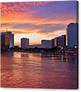 Jacksonville Skyline At Dusk Canvas Print