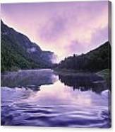 Jacques-cartier River And Mist At Dawn Canvas Print