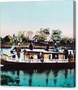 Japan, A Houseboat, Hand Colored Canvas Print