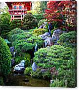 Japanese Garden With Pagoda And Pond Canvas Print