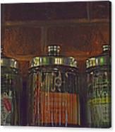 Jars Of Assorted Teas Canvas Print