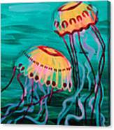 Jellyfish In Green Water Canvas Print