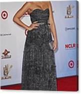 Jessica Alba Wearing A Dress By Michael Canvas Print