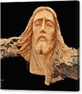 Jesus Christ Wooden Sculpture -  Four Canvas Print