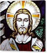Jesus Close Up Stained Glass Canvas Print