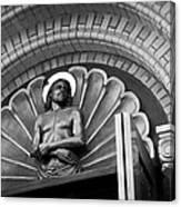 Jesus  Sculpture Above Cathedral Door Lintel Canvas Print