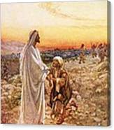 Jesus Withe The One Leper Who Returned To Give Thanks Canvas Print