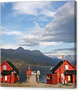 Jetty In A Norwegian Fjord Canvas Print
