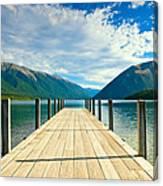 Jetty Of A Beautiful Lake  Canvas Print