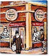 Jewish Montreal Vintage City Scenes Fish Market On Roy Street Canvas Print