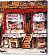 Jewish Montreal Vintage City Scenes Indigs Kosher Butcher Canvas Print