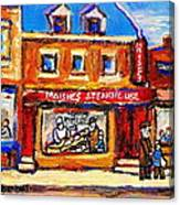 Jewish Montreal Vintage City Scenes Moishes St. Lawrence Street Canvas Print