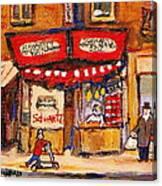 Jewish Montreal Vintage City Scenes Schwartzs Original Hebrew Deli Canvas Print