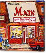 Jewish Montreal Vintage City Scenes The Main Rib Steaks On St. Lawrence Boulevard Canvas Print