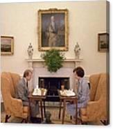 Jimmy Carter And Rosalynn Carter Having Canvas Print