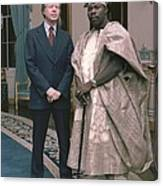 Jimmy Carter With Nigerian Ruler Canvas Print