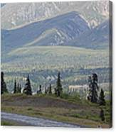 Jogger On The Glenn Highway And Chugach Canvas Print