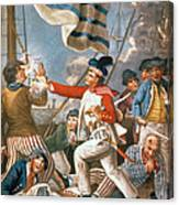 John Paul Jones Shooting A Sailor Who Had Attempted To Strike His Colours In An Engagement Canvas Print
