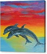 Jumping Dolphins Left Canvas Print
