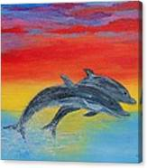 Jumping Dolphins Right Canvas Print
